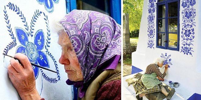 90-jährige Großmutter verwandelt kleines tschechisches Dorf mit ihren handgemalten Blumen